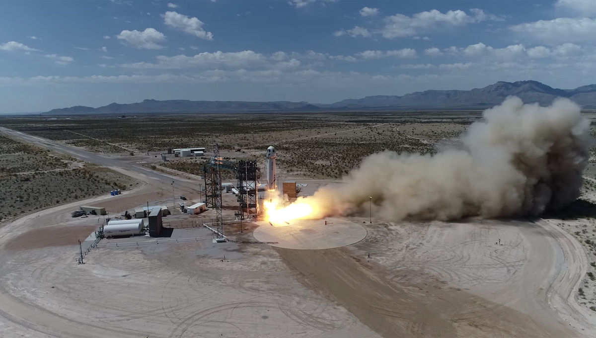 The moment of launch for the eighth flight of the New Shepard rocket on April 29th, 2018. Credit: Blue Origin