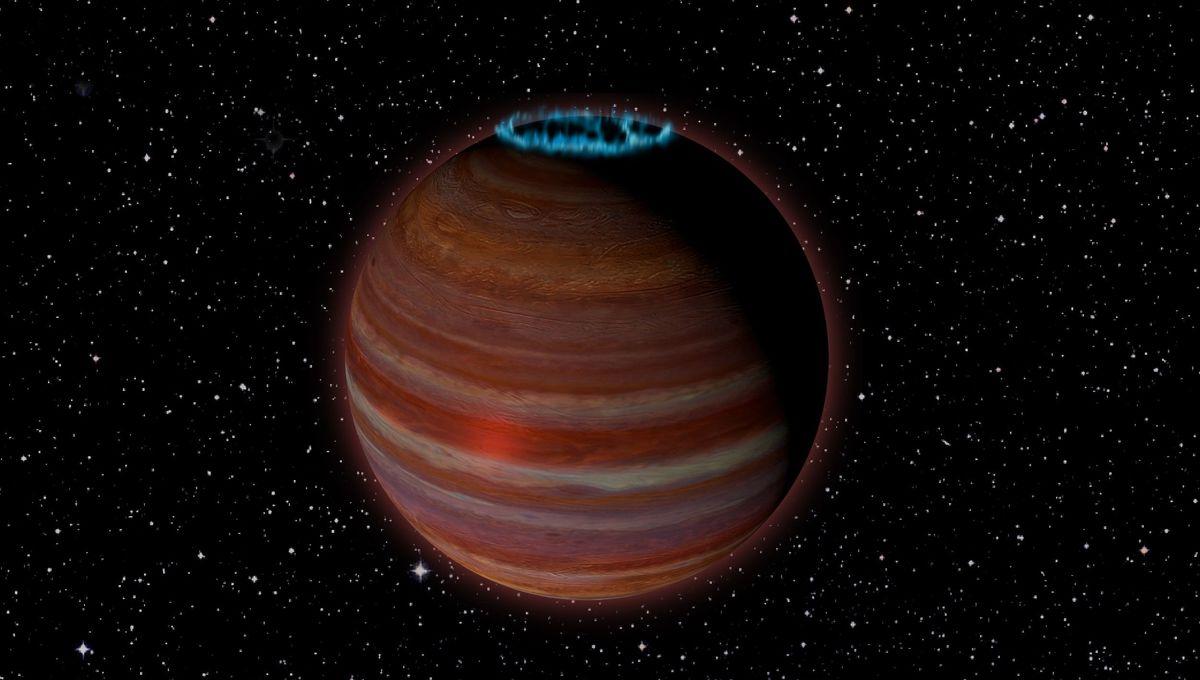 Artwork depicting a solitary brown dwarf with an aurora. Credit: Chuck Carter, Caltech, NRAO/AUI/NSF