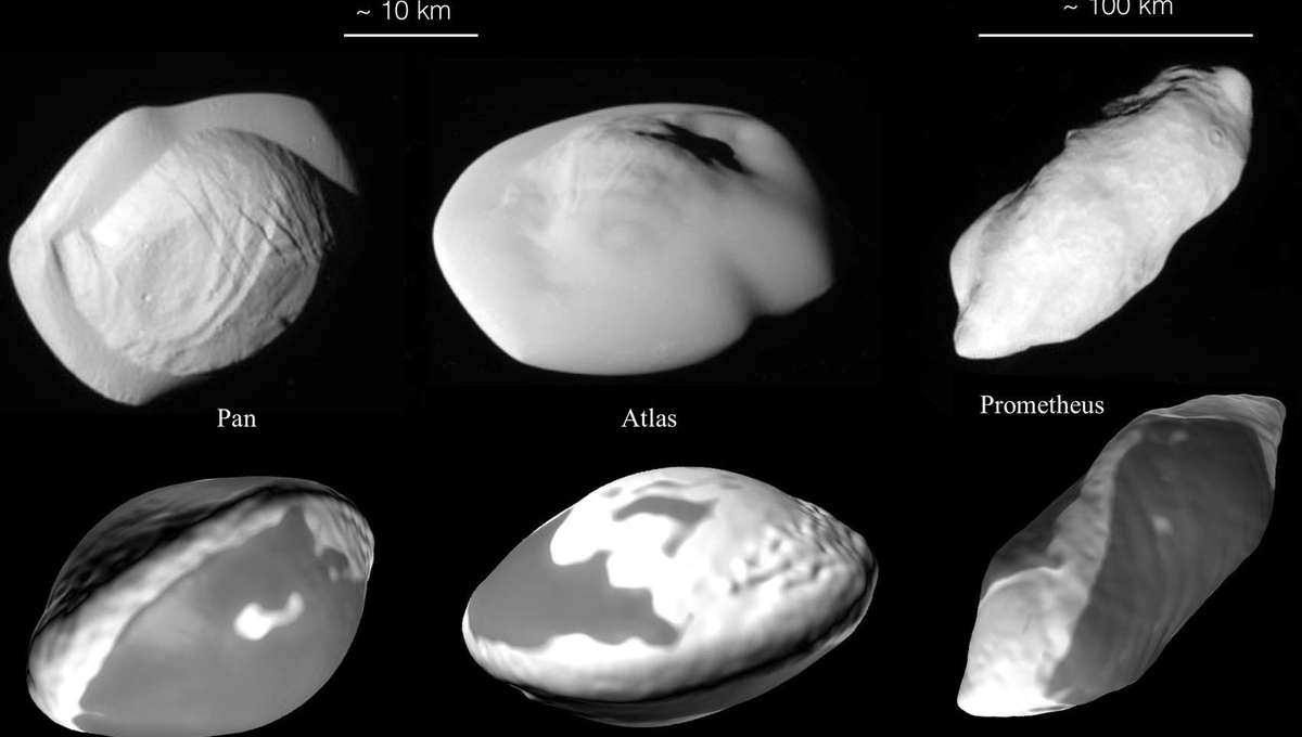 Saturn's ravioli and spaetzle moons Atlas, Pan, and Prometheus (top row) and models of their shapes based on collisions (bottom). Credit: NASA/JPL-Caltech/Space Science Institute/University of Bern