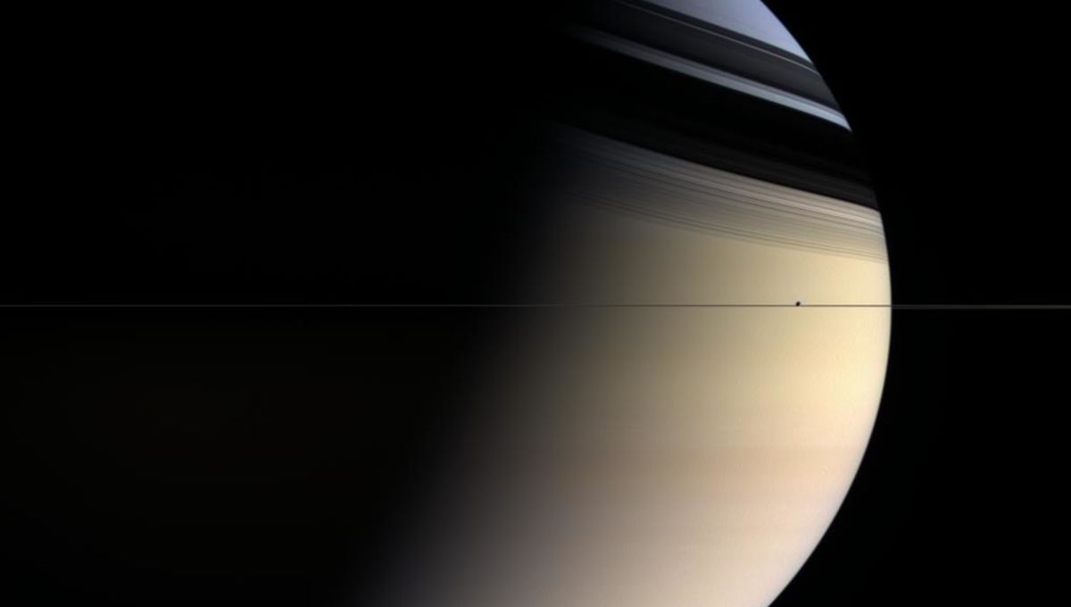 To scale, Saturn's rings are thinner than paper. This Cassini image shows them edge-on, with the moon Enceladus seen right in the ring plane as well.