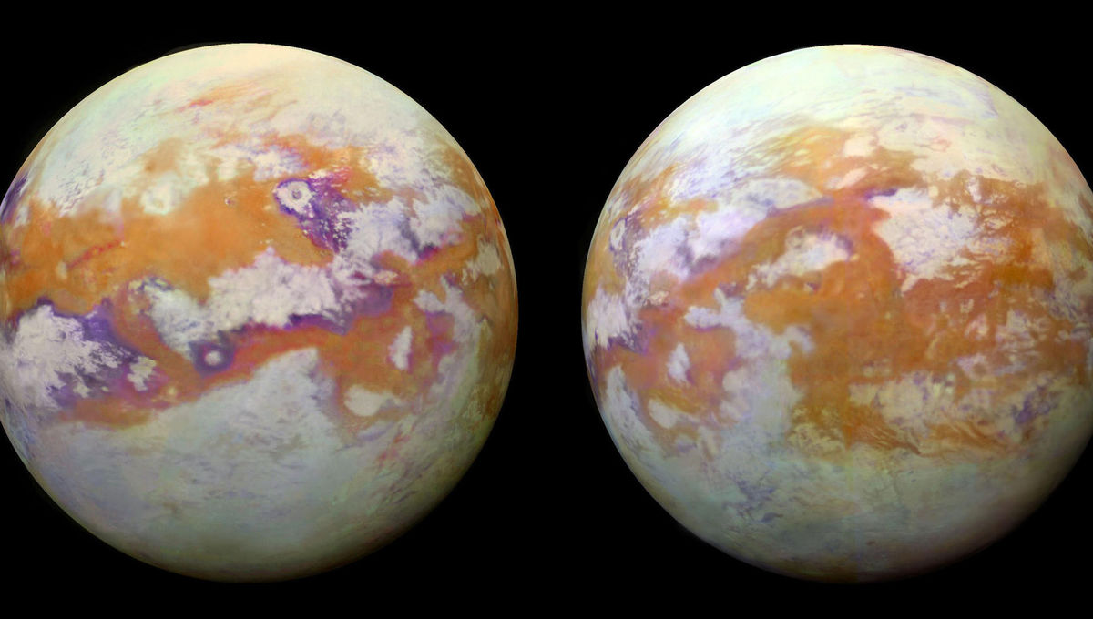 Spectacular maps of the surface of Saturn's huge moon Titan crated using infrared images from Cassini that can see the surface through the thick atmospheric haze. Credit: NASA/JPL-Caltech/University of Nantes/University of Arizona