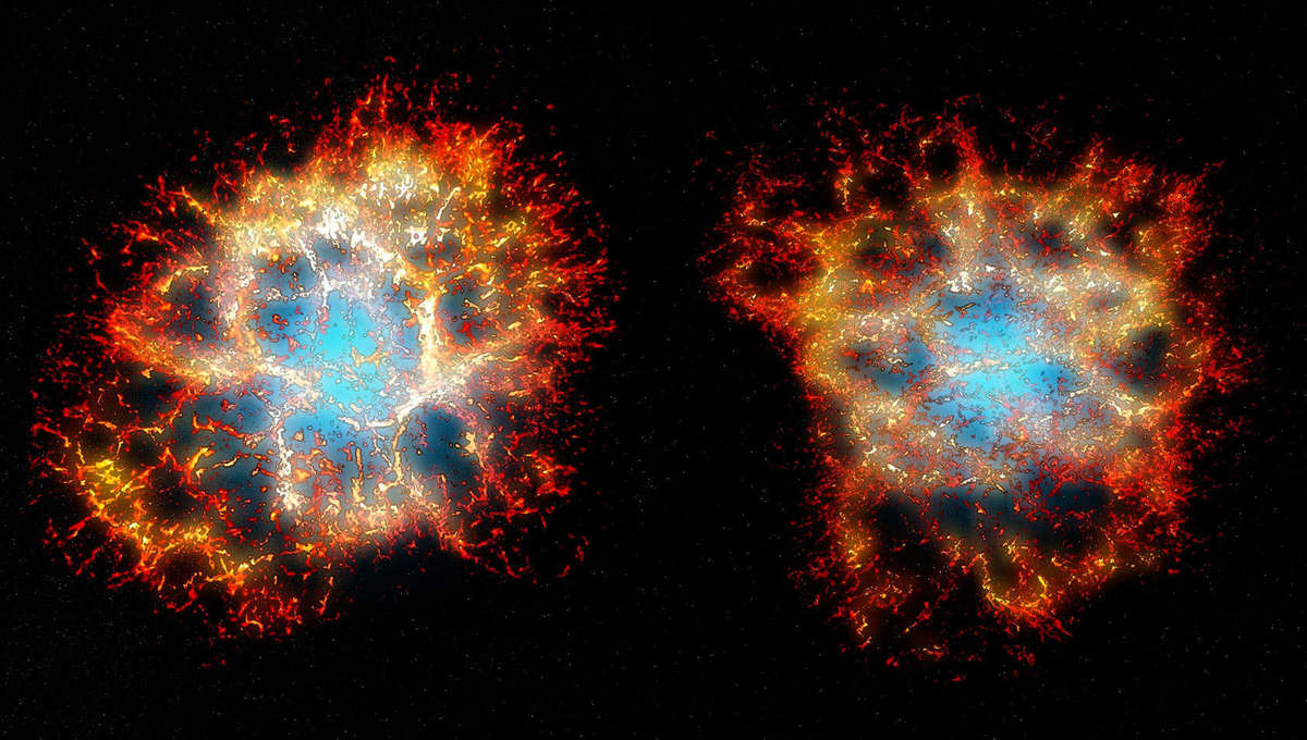 3D models of the Crab Nebula generated from spectra: The view as we see it from Earth (left) versus from a different angle, where the heart shape becomes more apparent. Credit: Thomas Martin, Danny Milisavljevic and Laurent Drissen