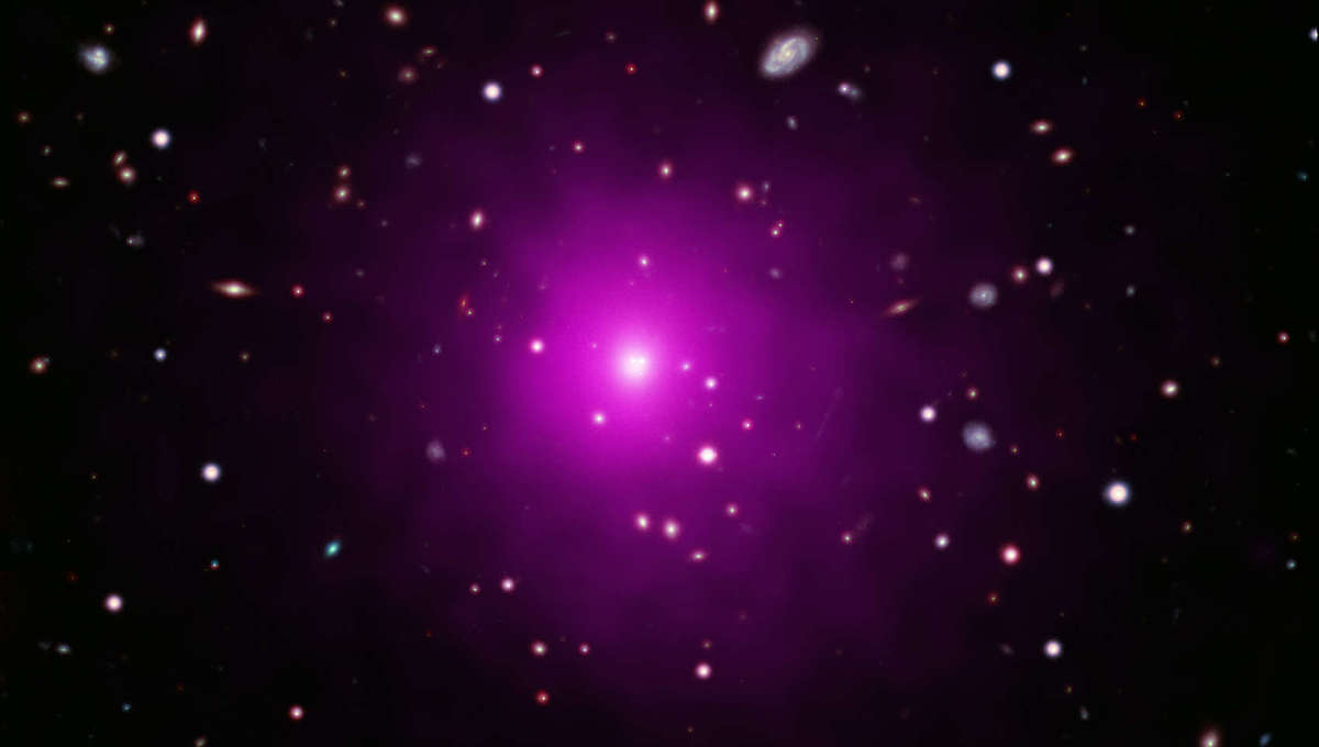 X-ray (purple) and visible light composite of the center of the galaxy cluster Abell 2261.