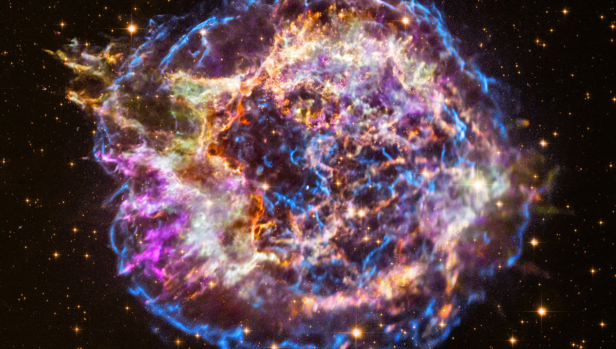 A stunning image of the supernova remnant Cas A combines visible light images from Hubble with X-ray observations by Chandra. The different colors represent different energies of the light.