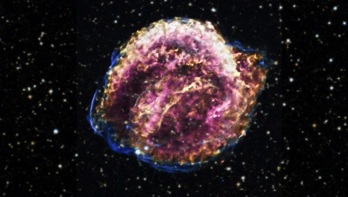 The expanding debris from Kepler's Supernova in 1604, a Type Ia explosion of a white dwarf in the Milky Waygalaxy. Credit:X-ray: NASA/CXC/SAO/D.Patnaude, Optical: DSS
