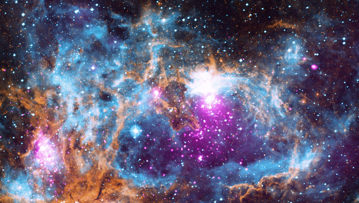 The vast nebula NGC 6357, cranking out thousands of stars in three separate regions. Credit: X-ray: NASA/CXC/PSU/L.Townsley et al; Optical: UKST; Infrared: NASA/JPL-Caltech