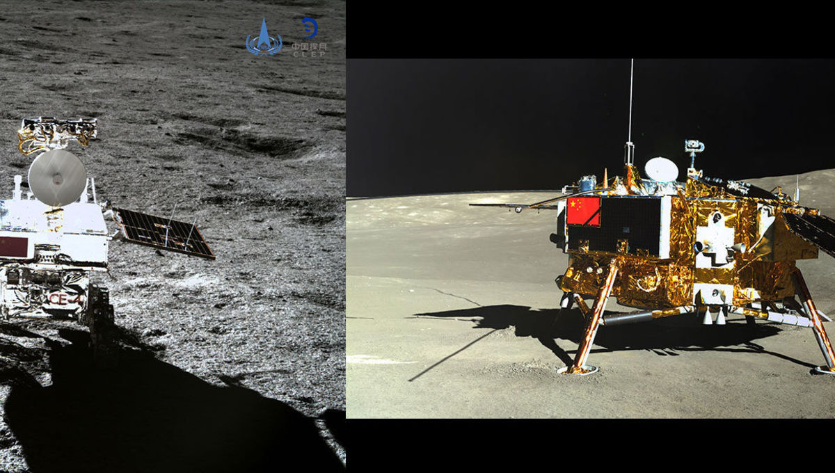 The Chang'e 4 rover as seen from the lander (left) and vice-versa (right). Credit: CNSA/CLEP/Emily Lakdawalla/The Planetary Society