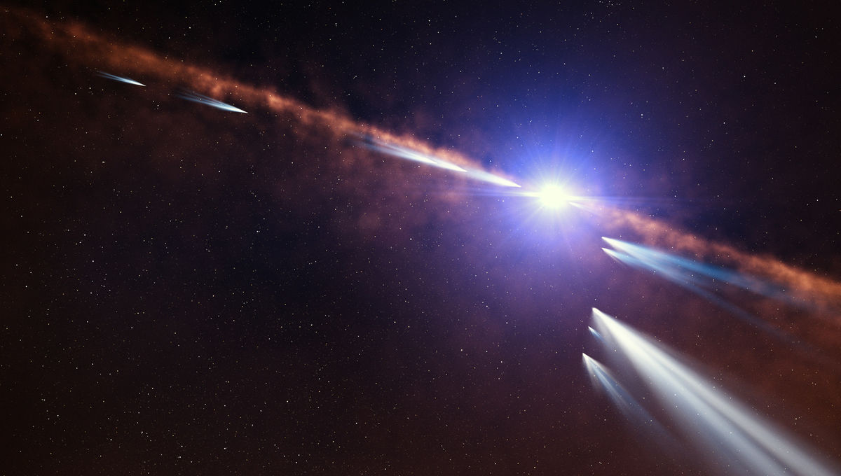 Artist's impression of comets orbiting the young star Beta Pictoris. Credit: ESO/L. Calçada