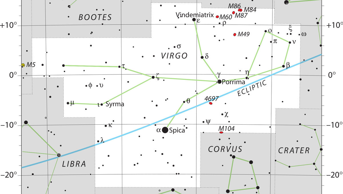 The constellation of Virgo, which TOTALLY looks like a young woman recling. Sure. Credit: IAU and Sky & Telescope magazine (Roger Sinnott & Rick Fienberg)