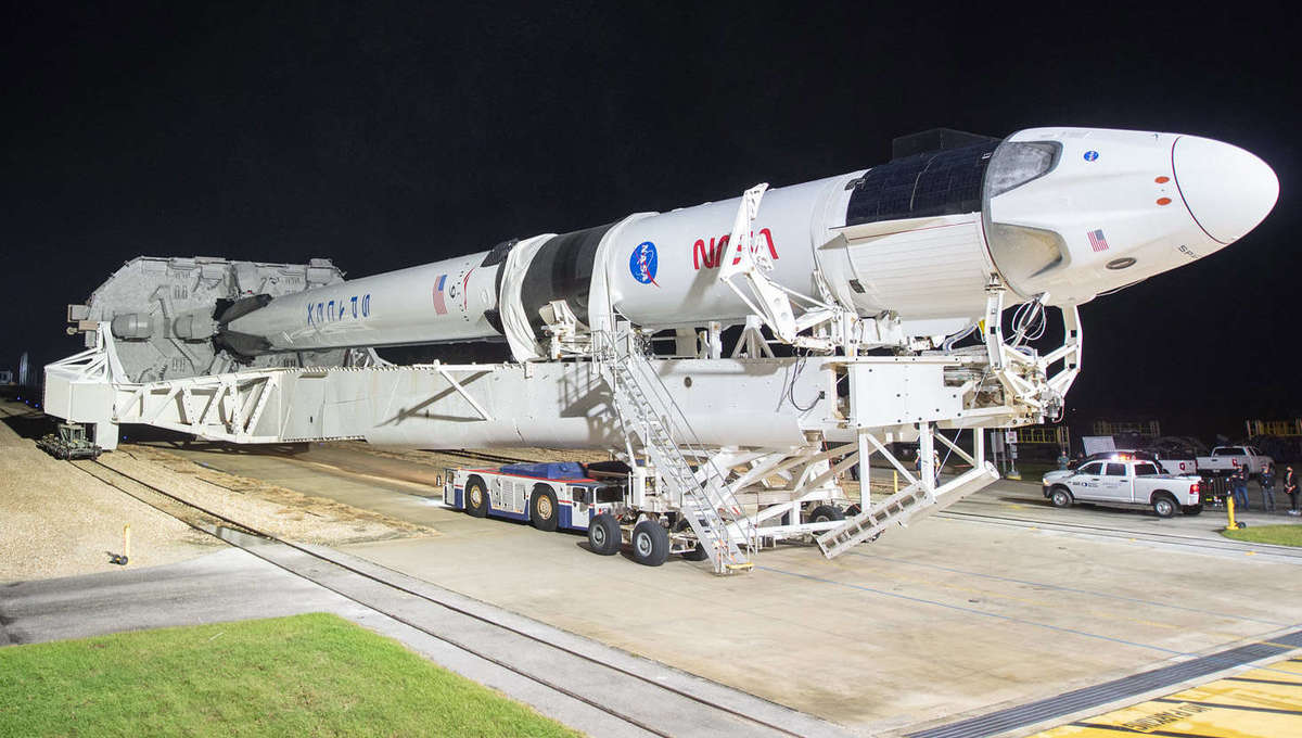 The Crew-1 Dragon Resilience is rolled out to the launch pad at Cape Canaveral, Florida on 9 November, 2020. Credit: NASA