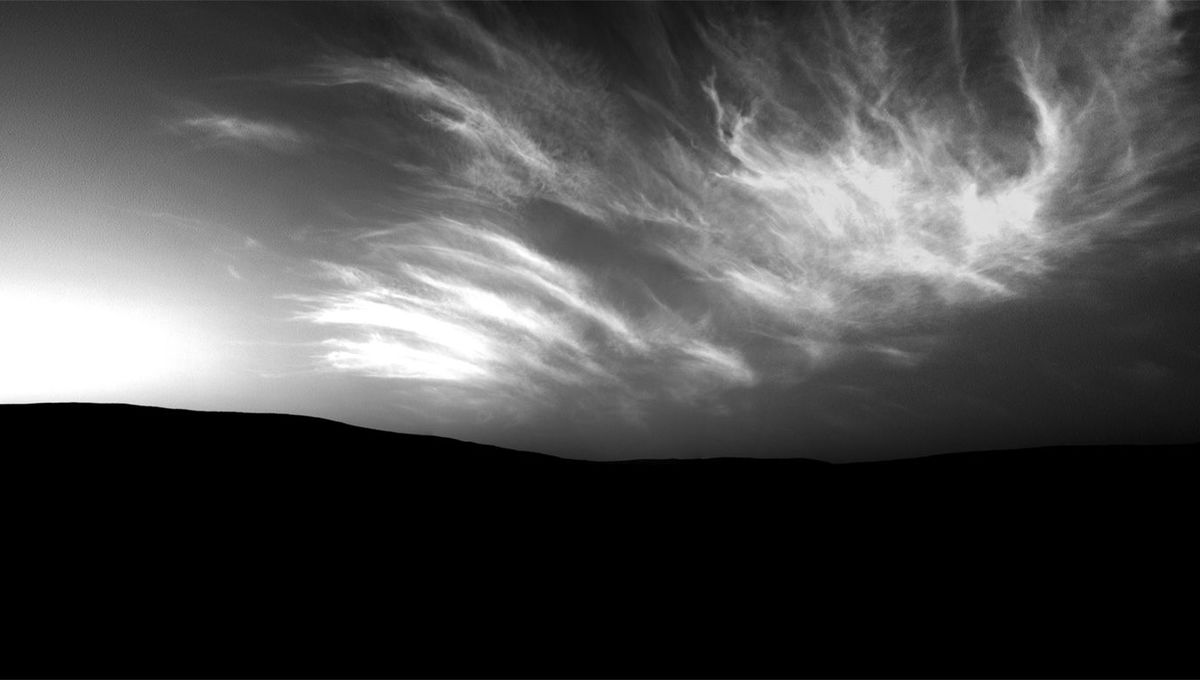 Mosaic of images from the Mars Curiosity rover showing noctilucent clouds glowing over the western horizon after sunset. Credit: NASA/JPL-Caltech/Justin Cowart
