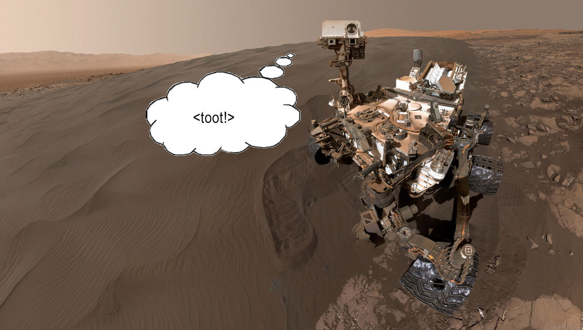 Curiosity self-portrait on Mars… though it's not likely to be the source of mysterious methane found in the atmosphere there. Credit: NASA/JPL-Caltech/MSSS / clipartmag.com / Phil Plait
