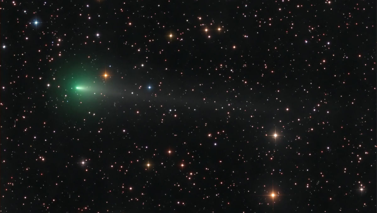 Comet C/2019 Y4 (ATLAS) glows green due to the presence of diatomic carbon, common in comets. Credit: Damian Peach