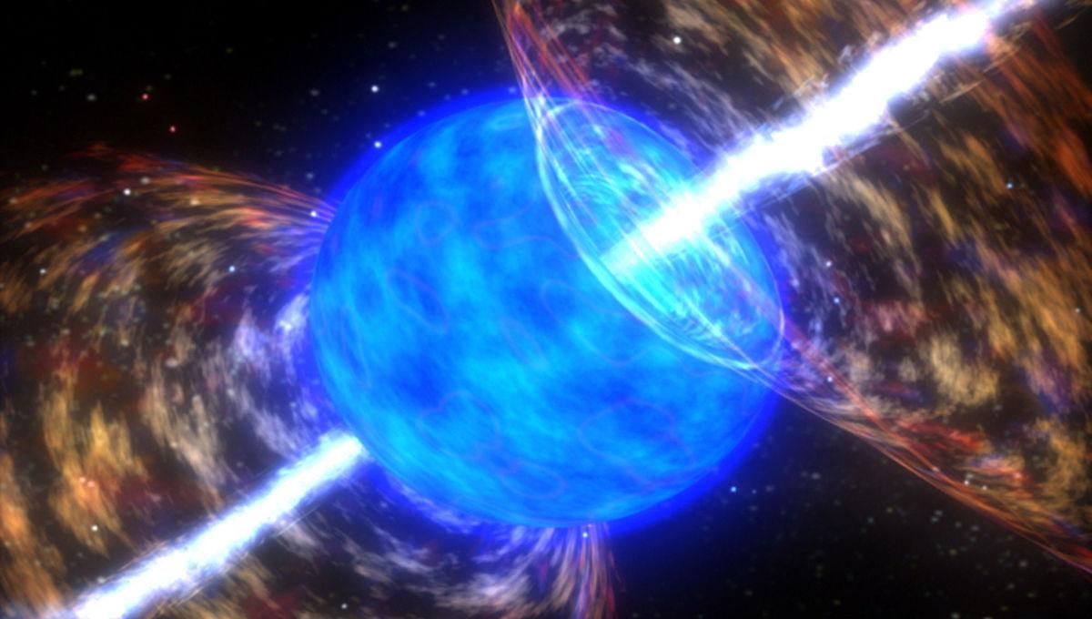 Artwork depicting beams of matter and energy tearing through a massive blue star, creating a hypernova and gamma-ray burst. Credit: NASA/Dana Berry/Skyworks Digital