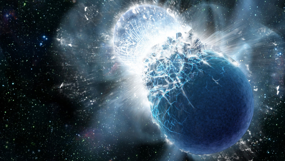 Artwork depicting the moment of collision between two neutron stars. The resulting explosion is… quite large. Credit: Dana Berry, SkyWorks Digital, Inc.