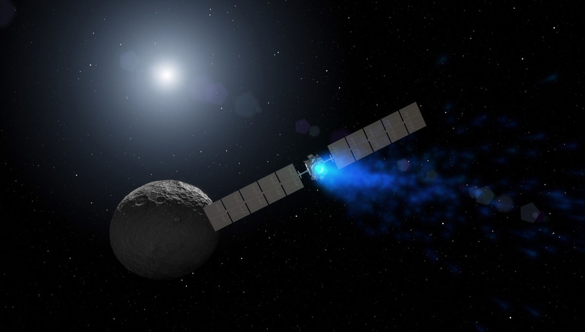 Artwork depicting the Dawn spacecraft approaching Ceres. Credit: NASA/JPL-Caltech/UCLA/MPS/DLR/IDA