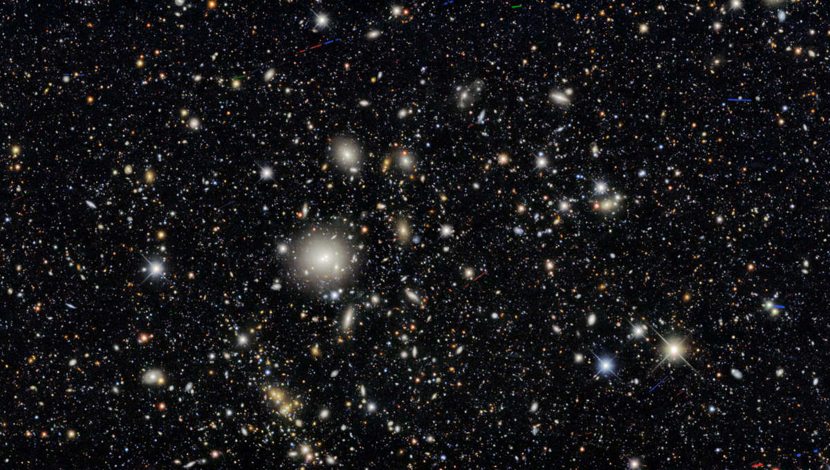The galaxy cluster WHL J095921.0+011752, at a distance of about 1.5 billion light years from Earth, was one of many clusters examined in the Dark Energy Survey. Almost everything in this image is a distant galaxy.