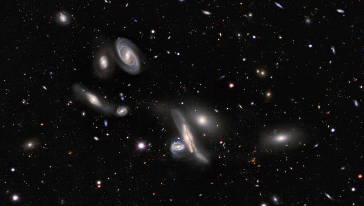 A small group of galaxies called the Copeland Septet, seen in the DESI Legacy Sky Surveys. Credit: DESI Legacy Imaging Surveys/LBNL/DOE & KPNO/CTIO/NOIRLab/NSF/AURA