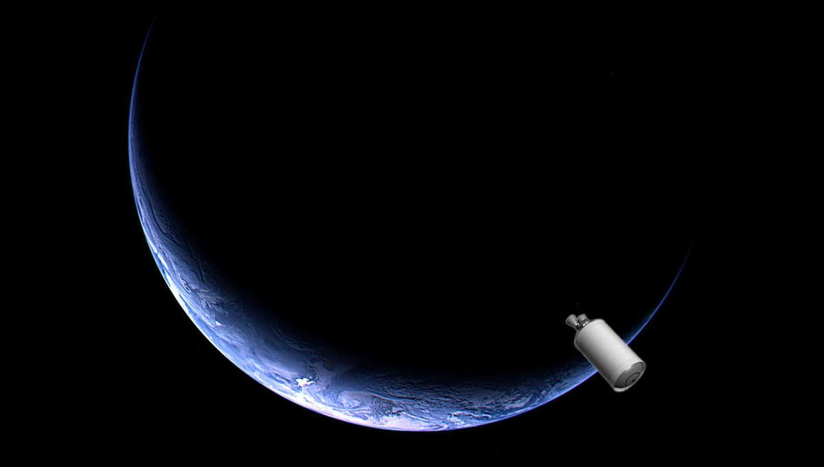 A fanciful depiction of a Centaur rocket near Earth. Credit: Earth: ESA/Rosetta; Centaur: ULA; Phil Plait
