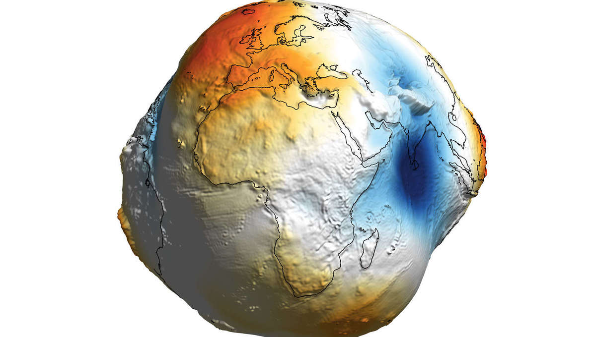 The Earth's geoid, a representation of the gravitational potential of Earth. Credit: Aleš Bezděk
