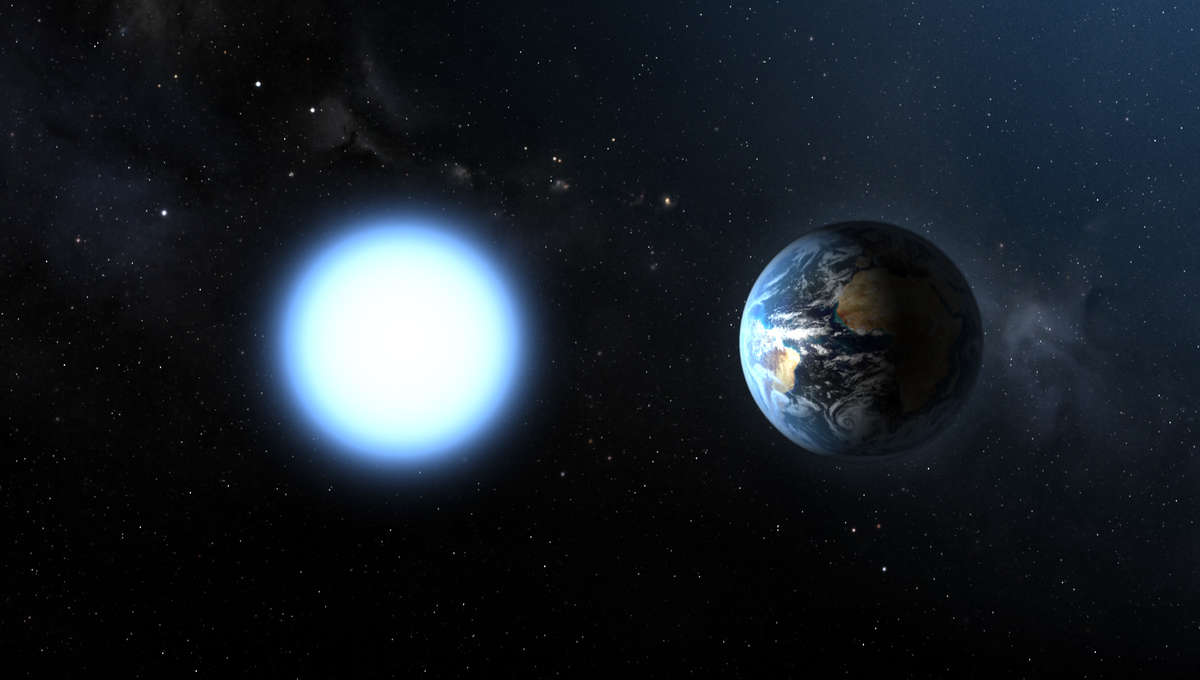 The nearest white dwarf to us, Sirius B, has the mass of the Sun but the size of the Earth. For comparison, the Sun is over 100 times wider than Earth. Credit: ESA and NASA