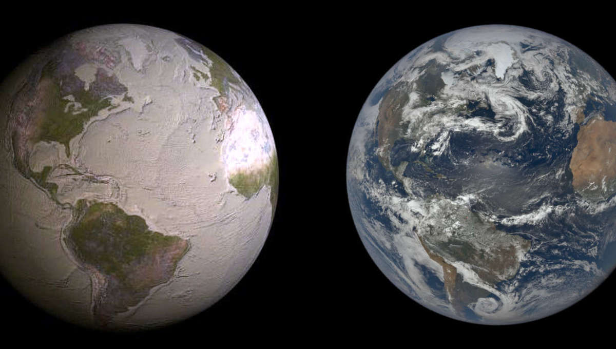 Artwork depicting Earth without water (left) versus the actual planet observed from space (right). Credit:David Gallo/WHOI and NASA/NOAO
