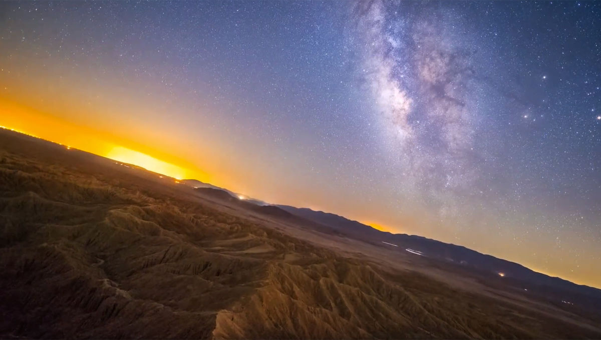"A frame from the time-lapse video ""Font's Point - Stabilized Sky Timelapse"". Credit: Eric Brummel"
