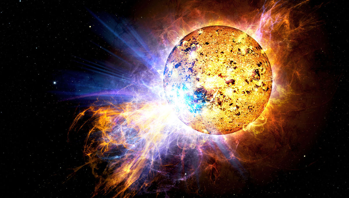 Artwork depicting a flare from a low-mass star. Credit: Casey Reed/ NASA