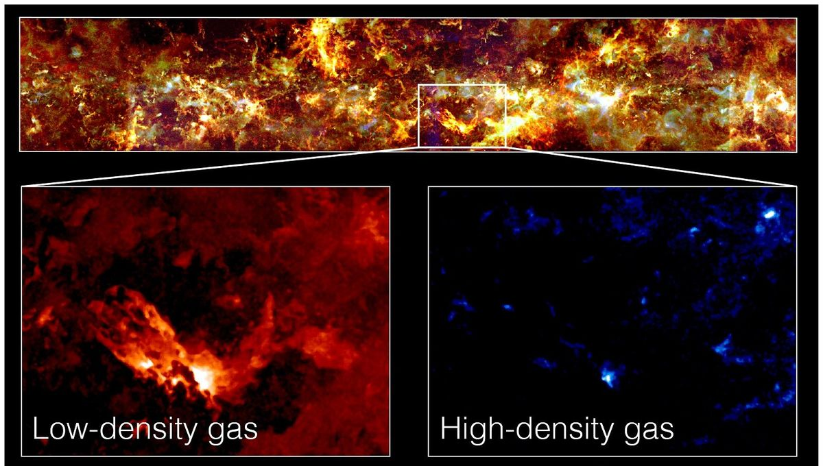 The FUGIN survey looked at a huge swath of the Milky Way (top), finding both areas of low-density gas (bottom left) and high (bottom right). The latter is where stars are born. Credit: NINS, NOAJ, Nobeyama, FOREST