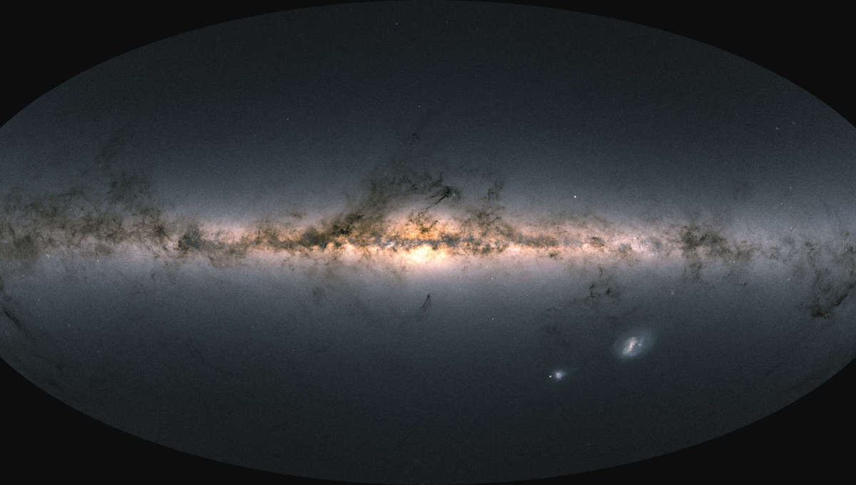 This is not a photo! It's an all-sky map of 1.8 billion stars in our galaxy, created from Gaia data showing the stars' positions, brightnesses, and colors. Credit: ESA/Gaia/DPAC; CC BY-SA 3.0 IGO. Acknowledgement: A. Moitinho