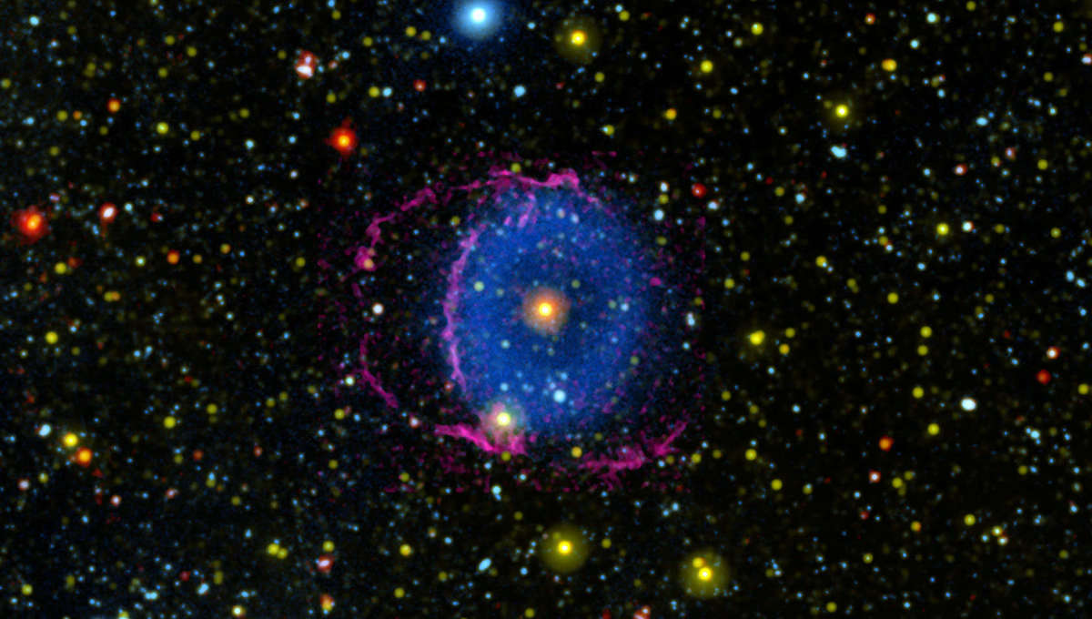 GALEX ultraviolet observations of the Blue Ring Nebula (in blue) together with ground-based observations in visible light (pink) finally reveal the true nature of this object: Two stars that merged into one, blowing out a wind shaped like two thick conica