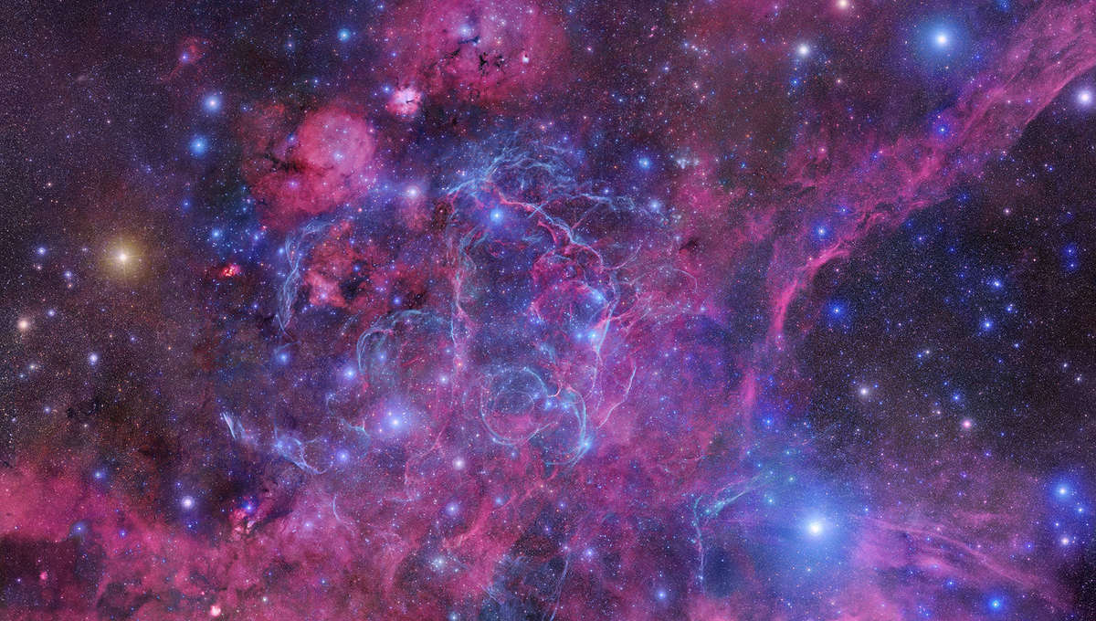 The Vela supernova remnant is the shredded remains of a star that blew up 11,000 years ago, seen against a backdrop of gas clouds in the Milky Way. Credit: Robert Gendler and Roberto Colombari / DSS