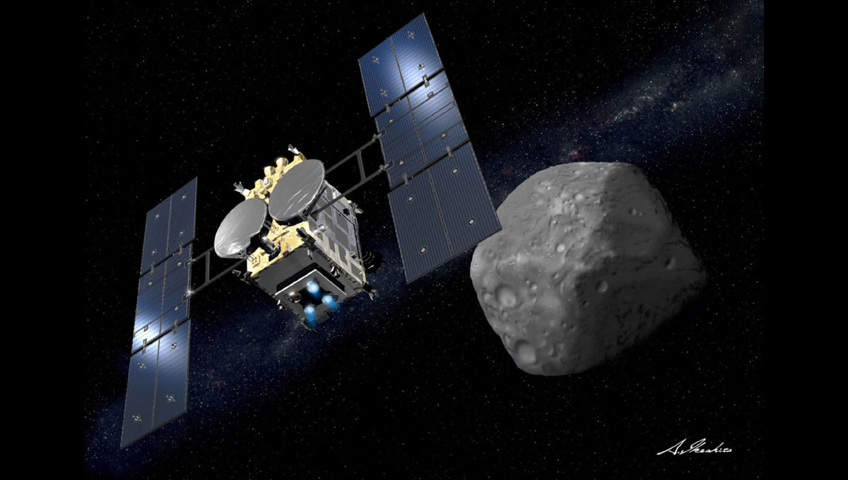 Artwork of the Hayabusa 2 spacecraft as it approaches the asteroid Ryugu. Credit: JAXA