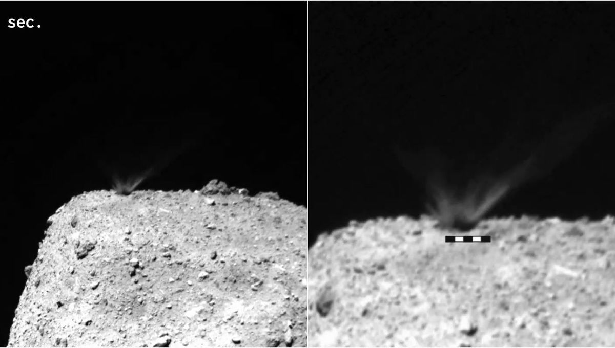 192 seconds after the impact of a slug shot by Hayabusa2 a crater forms on the asteroid Ryugu. Credit: Arakawa et al.
