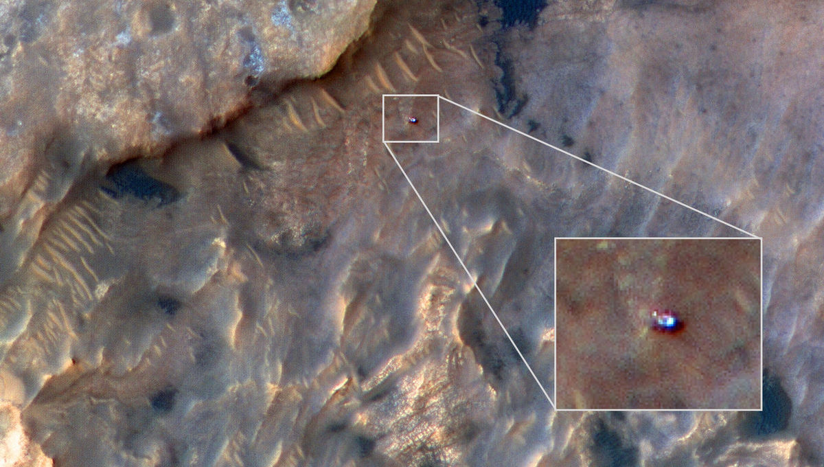 The HiRISE camera on the Mars Reconnaissance Orbiter took this amazing image of the Curiosity rover on the surface of Mars on May 31, 2019. Credit: NASA/JPL-Caltech
