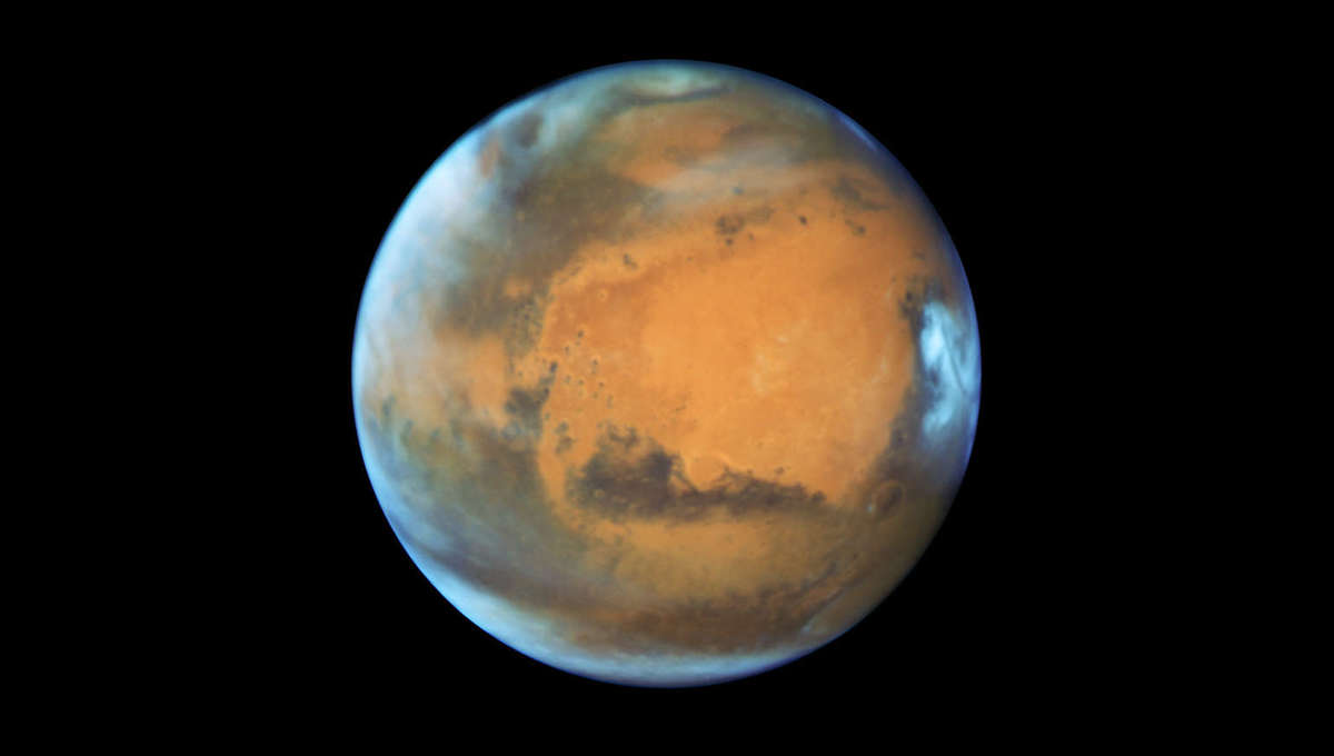 Hubble Space Telescope image of Mars taken near its closest approach to Earth in 2016. Credit:NASA, ESA, the Hubble Heritage Team (STScI/AURA), J. Bell (ASU), and M. Wolff (Space Science Institute)
