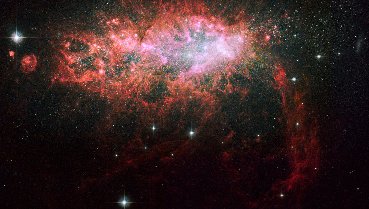 The nearby dwarf galaxy NGC 1569 is bursting with new stars.