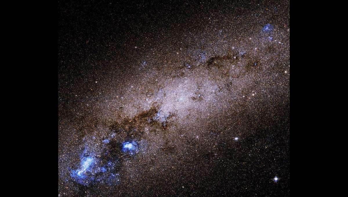 NGC 55, a nearby edge-on dwarf spiral galaxy, seen by Hubble Space Telescope. Credit: NASA, ESA, R. de Jong (Leibniz-Institut fur Astrophysik Potsdam [AIP]), and G. Illingworth (University of California – Santa Cruz)