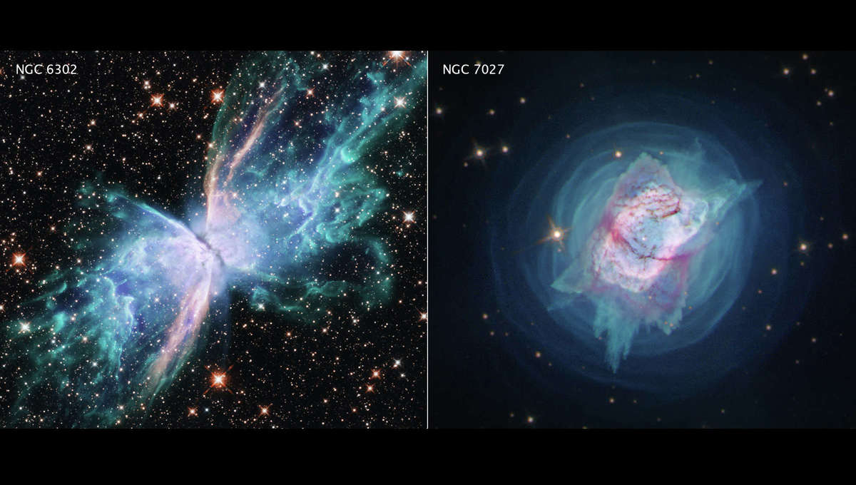 The planetary nebulae NGC 6302 (left) and 7027 (right), dying stars casting off their outer layers, as seen by the Hubble Space Telescope. Credit: NASA, ESA, and J. Kastner (RIT)
