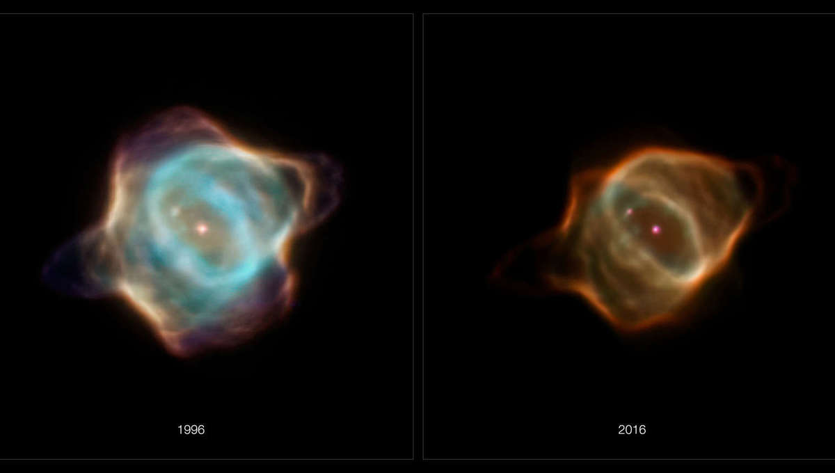 Henize 3-1357, aka the Stingray Nebula, seen in 1996 and 2006 by Hubble, has changed significantly over that time, fading in many places. Credit: NASA, ESA, B. Balick (University of Washington), M. Guerrero (Instituto de Astrofísica de Andalucía), and G