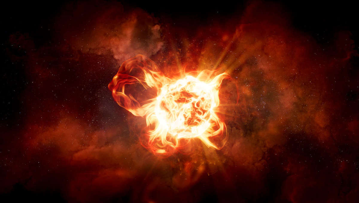 Artwork depicting the star VY Canis Majoris erupting out huge clouds of dust. Credit: NASA, ESA, and R. Humphreys (University of Minnesota), and J. Olmstead (STScI)