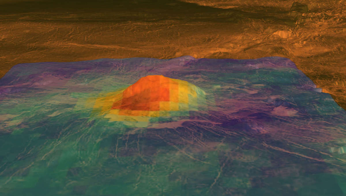 Idunn Mons, a volcano on Venus, may still be active; this topographic map from the Magellan probe has been overlayed by thermal data from Venus Express to show the top of the peak is still hot. Credit: NASA/JPL-Caltech/ESA