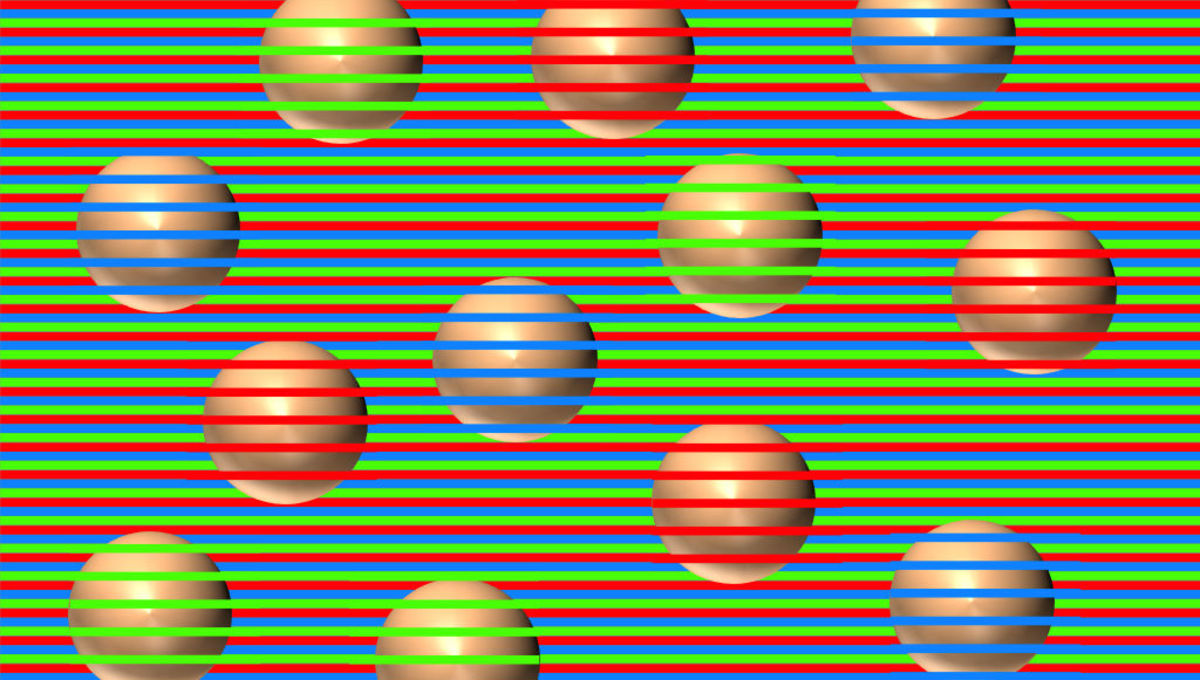 A color contrast optical illusion makes it look like the balls are different colors. In reality they are all the same color and shading. Credit: David Novick, used with permission