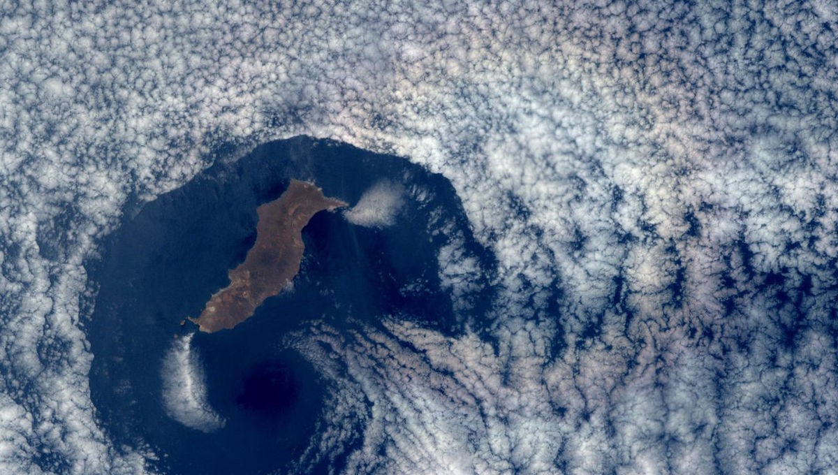 Guadalupe Island with a glory, seen from the ISS. Credit: NASA