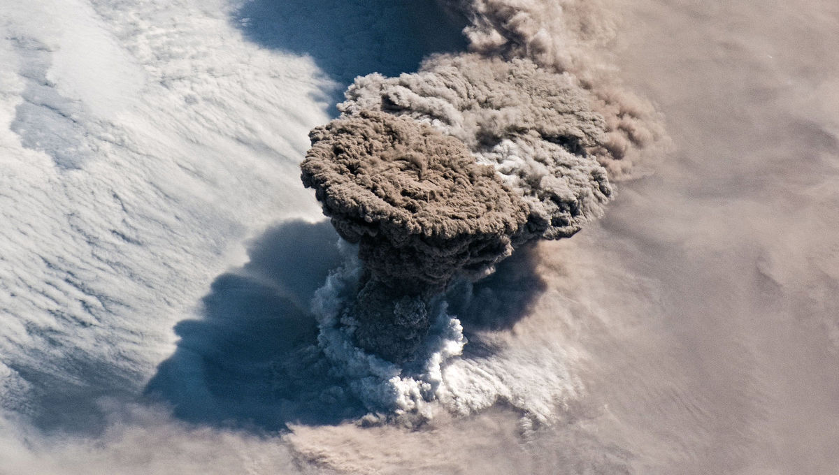 An internation Space Station astronaut-eye-view of the eruption of the Raikoke volcano on June 22, 2019. Credit: NASA