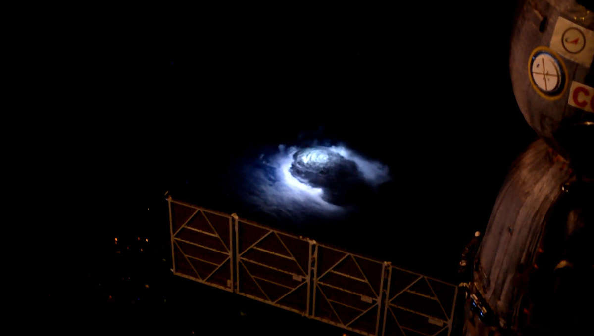 A thunderstorm seen from the International Space Station, lit internally by lightning. Credit: DTU Space / ESA / NASA