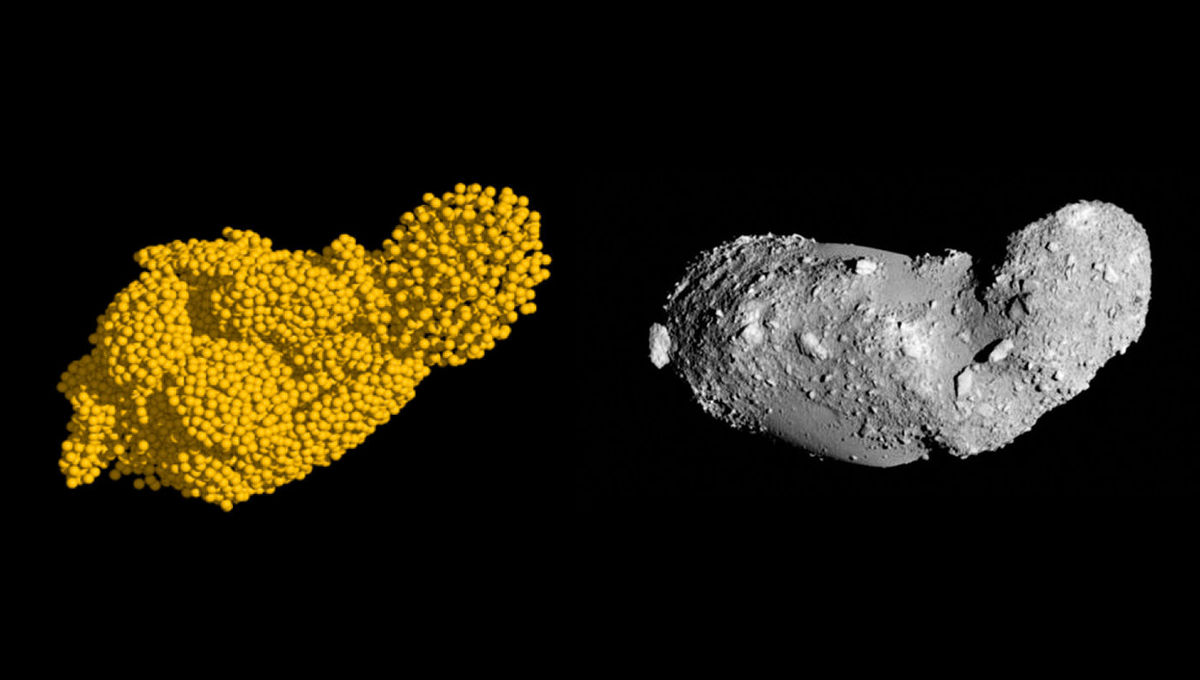 A simulation of asteroid fragments reaccumulating after an event shattered the parent body (left) bears a remarkable likeness to the actual asteroid Itokawa. Credit: Campo Bagatin, et al. / JAXA (slightly modified by Phil Plait)
