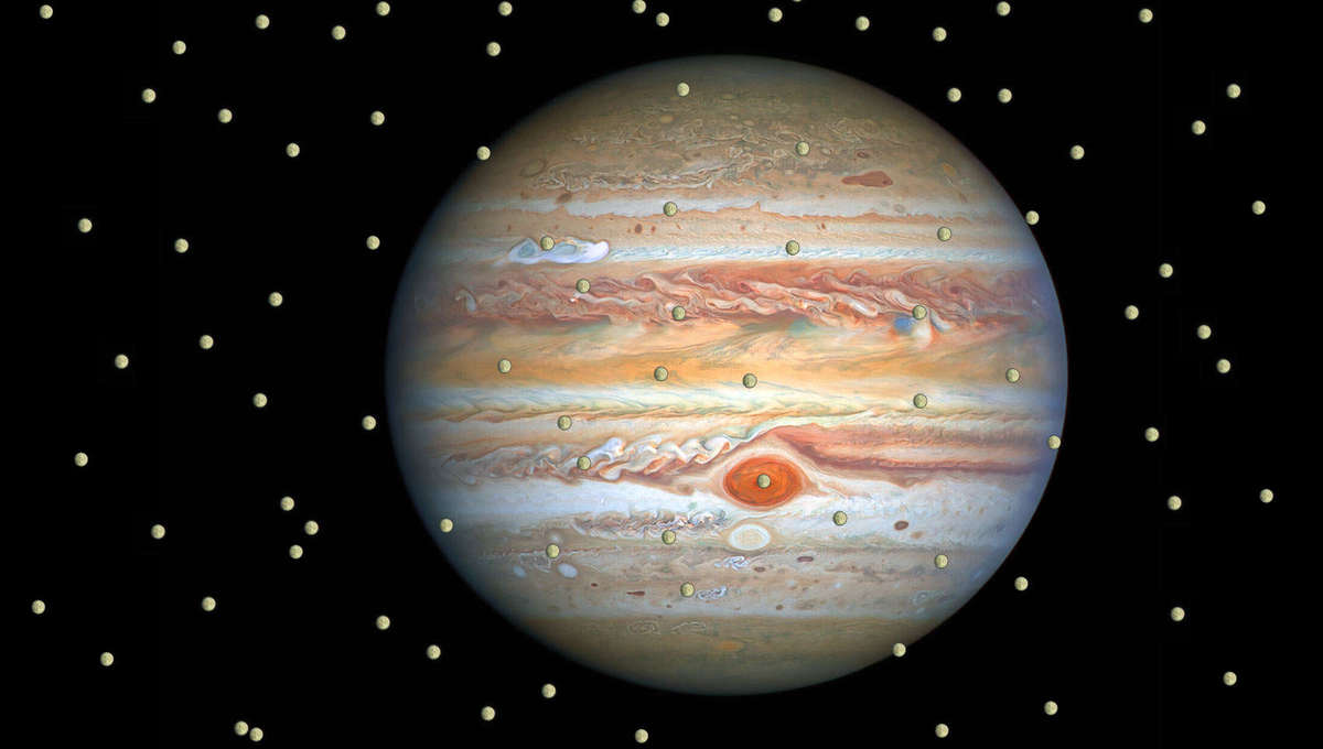 It doesn't really work this way, but you get the idea. From a Hubble image of Jupiter and its moon Europa. Credit: NASA, ESA, A. Simon (Goddard Space Flight Center), and M. H. Wong (University of California, Berkeley) and the OPAL team.