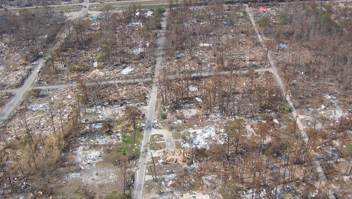 Total destruction caused by the 2015 hurricane Katrina in Waveland, MS. Credit: Lieut. Commander Mark Moran, NOAA Corps, NMAO/AOC.