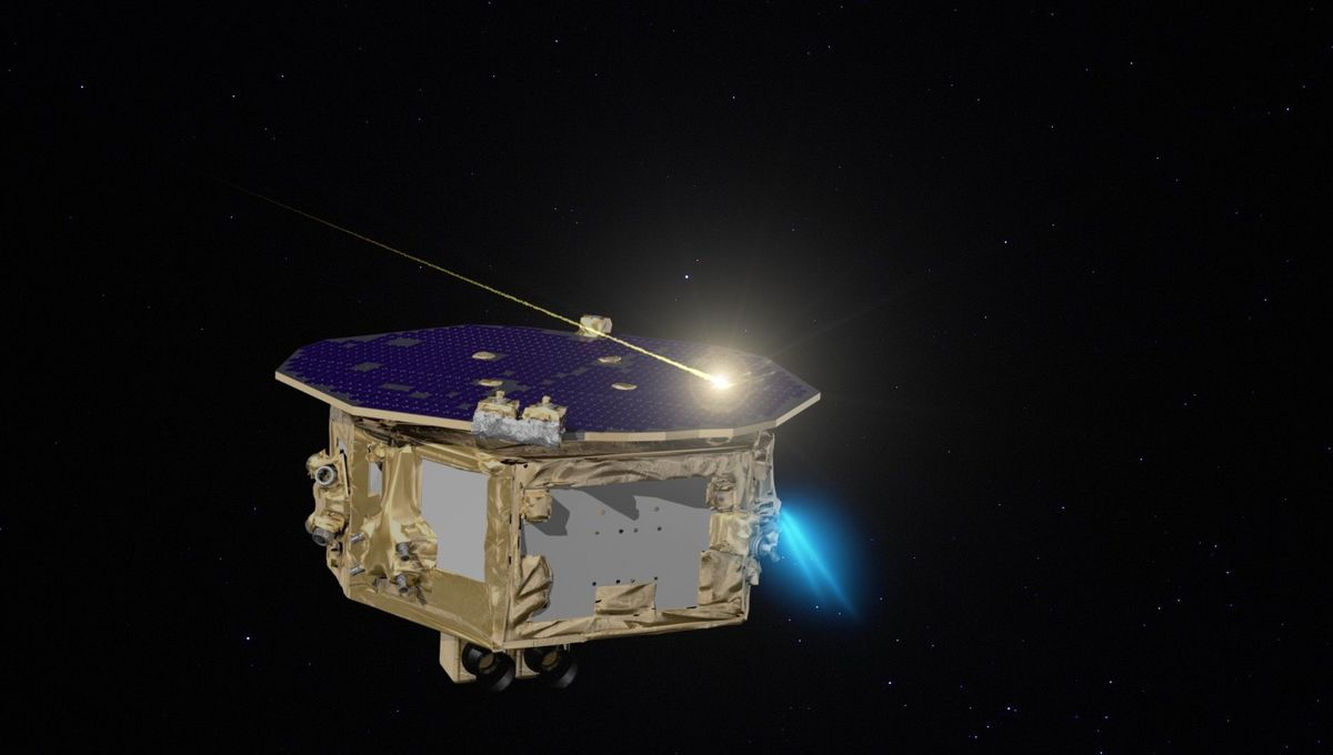 A somewhat fanciful depiction (there would be no trail in the vacuum of space) of a micrometeorite hitting the LISA Pathfinder spacecraft. Credit: NASA
